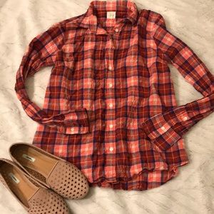 J. Crew crinkle perfect shirt checked pink s